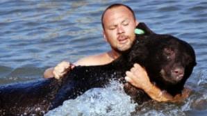 Momentul terifiant în care un bărbat se aruncă în apă după un urs de 170 kg. Ce a urmat e teribil!