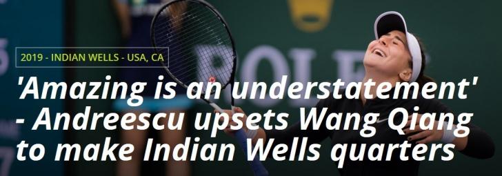 Bianca Andreescu, parcurs în forță la Indian Wells