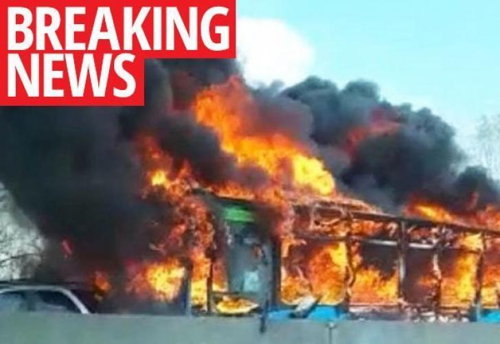 Autobuz incendiat la Milano