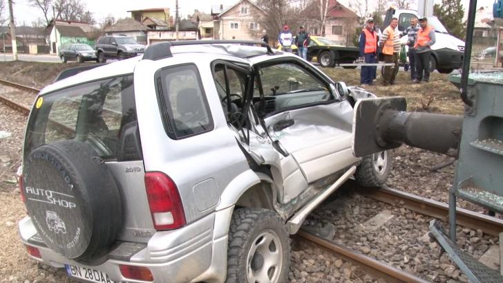 Accidentul feroviar de la Pucioasa, surprins de camerele de supraveghere