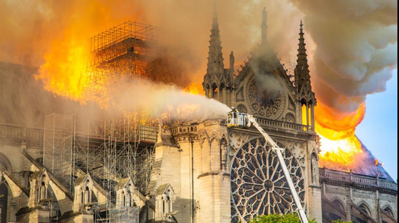 Catedrala Notre Dame în flăcări