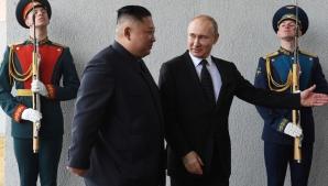 Vladimir Putin l-a primit pe Kim Jong-un la Vladivostok