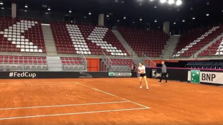 VIDEO | Fed Cup. Halep a făcut primul antrenament în Franța