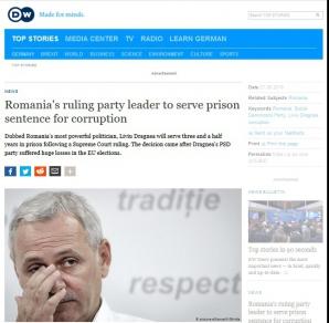 Articol în DW despre condamnarea lui Dragnea