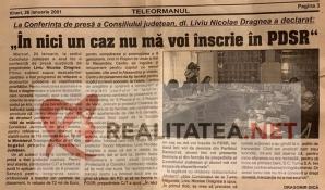 Ziarul Teleormanul din 26 ianuarie 2001. Foto: realitatea.net