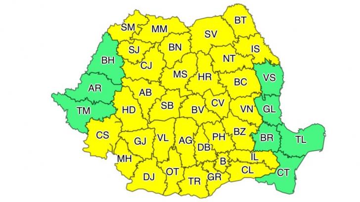 Vine URGIA peste România! Un nou COD GALBEN de vijelii în aproape toată țara HARTA