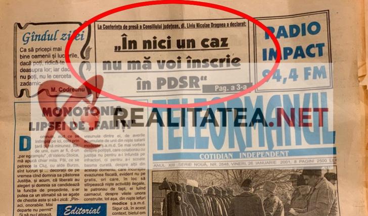 <p>Ziarul Teleormanul din 26 ianuarie 2001. Foto: realitatea.net</p>