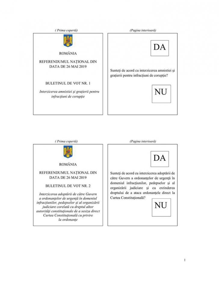 Model buletin de vot pentru referendumul pe justitie