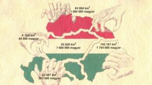 O imagine de propagandă arată cum vecinii Ungariei au acaparat părţi imense de teritoriu