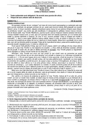 subiecte romana evaluare nationala 2019