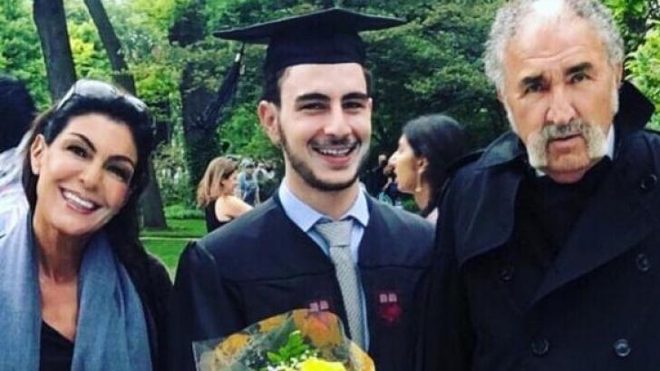 Ion Țiriac, cu fosta iubită la absolvirea fiului lor din Statele Unite. FOTO