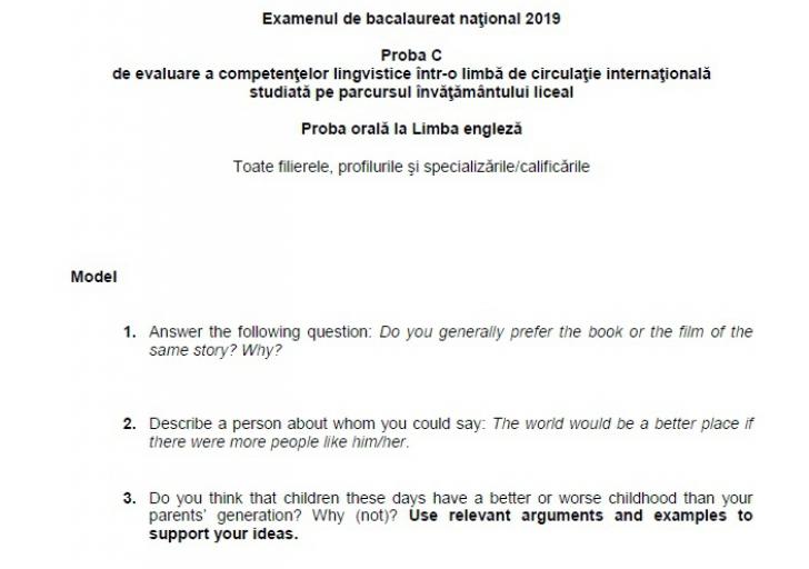 Subiecte competențe lingvistice 2019 BAC