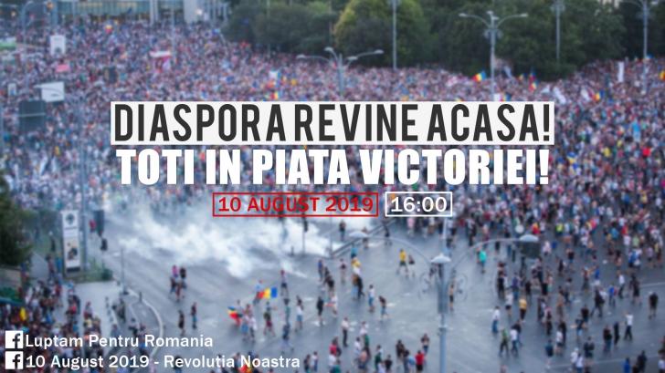 "Mitingul programat pe 10 august a primit aprobare: ""Diaspora revine acasa! TOTI in Piata Victoriei!"""