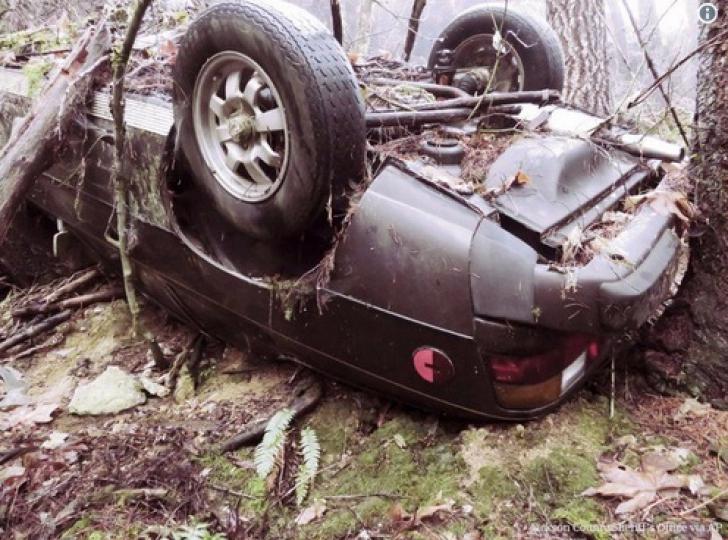 <p>O mașină dispărută în urmă cu 27 de ani, găsită în pădure, înfiptă în pom. Oribil ce era lângă ea!</p>