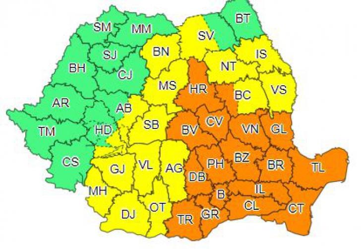 Cod portocaliu de grindină și vijelii în jumătate de țară. Capitala, vizată