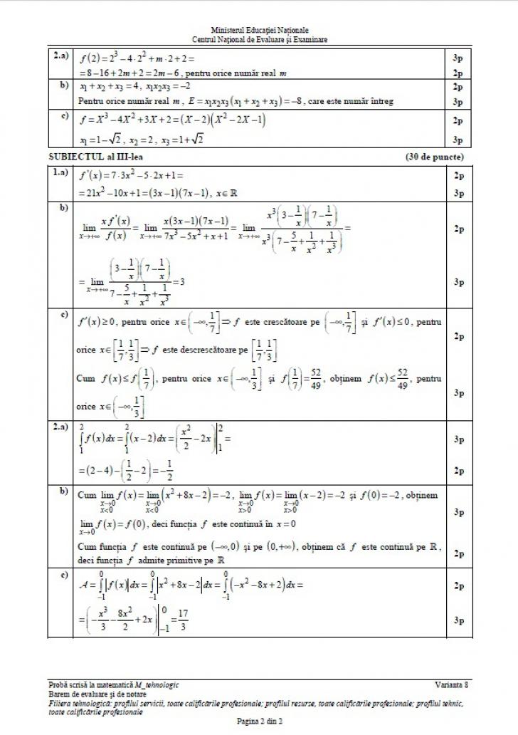 EDU.ro Subiecte Matematică BAC 2019 // M1, M2, M3 + barem și răspunsuri
