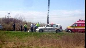 Acciodent grav, în Timiş: două victime, după ce maşina s-a răsturnat în şanţ