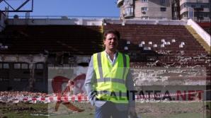 Gica Popescu in inspectie pe stadionul Rapid, in timpul demolarii, martie 2019. Foto: Cristian Otopeanu