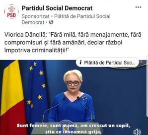 Emoțiile Vioricăi Dăncilă, promovare pe bani pe Facebook