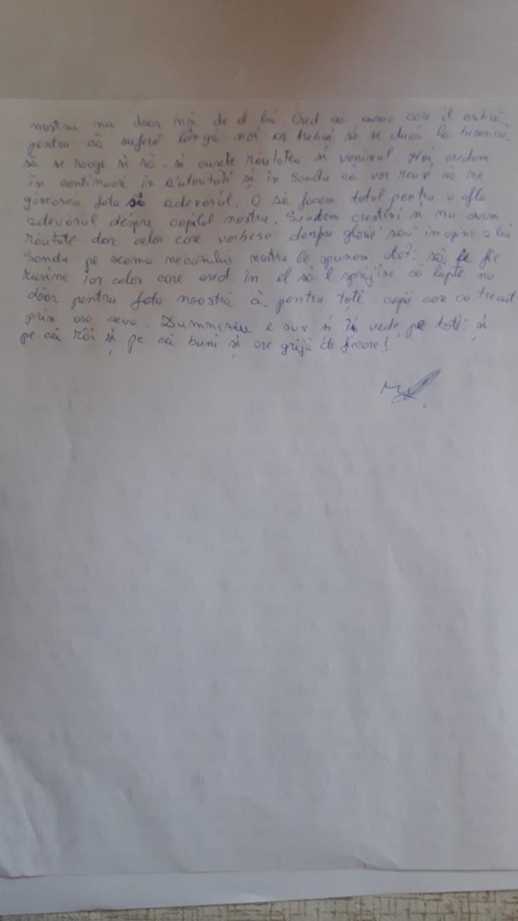 Scrisoare scrisa de mana