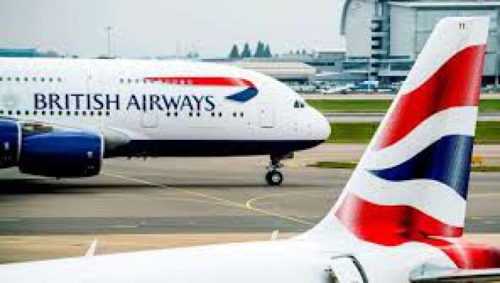 Cabina unui avion British Airways, cuprinsa de fum