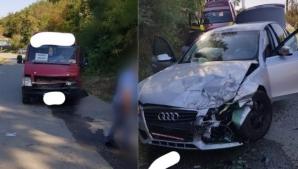 Impact devastator între un Audi și un microbuz cu pasageri, în jud. Vâlcea: mai multe victime
