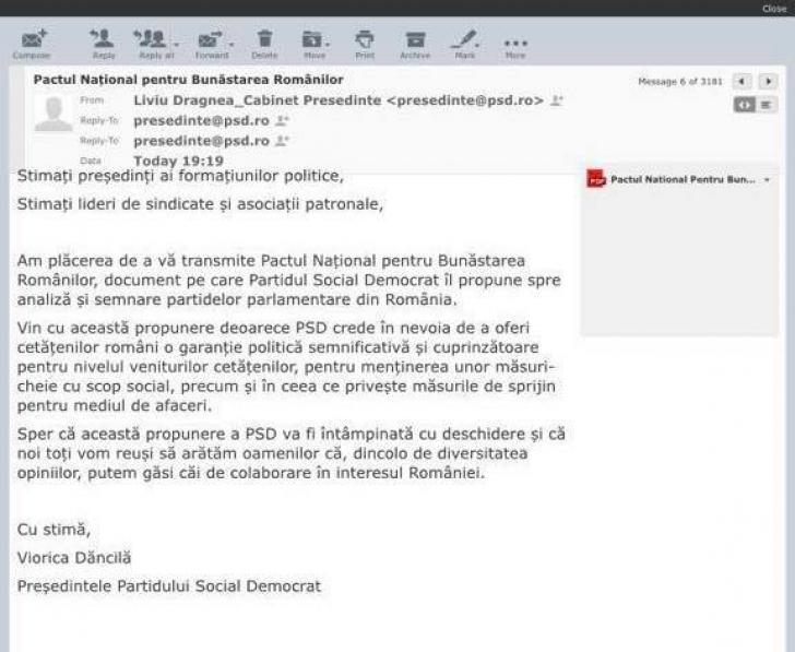 """Dăncilă i-a trimis un mail oficial lui Ponta, semnat """"Liviu Dragnea Cabinet Președinte"""""""