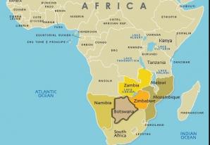 Botswana, în zona sudică a Africii
