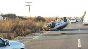 Accident grav, în jud. Satu Mare: 3 victime, după ce mașina s-a răsturnat