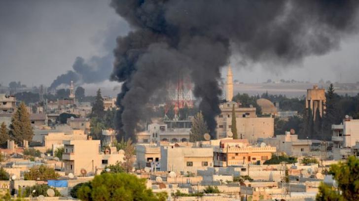 Zona bombardata inRas al-Ain