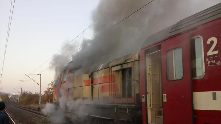 Locomotiva unui tren a luat foc, în Giurgiu