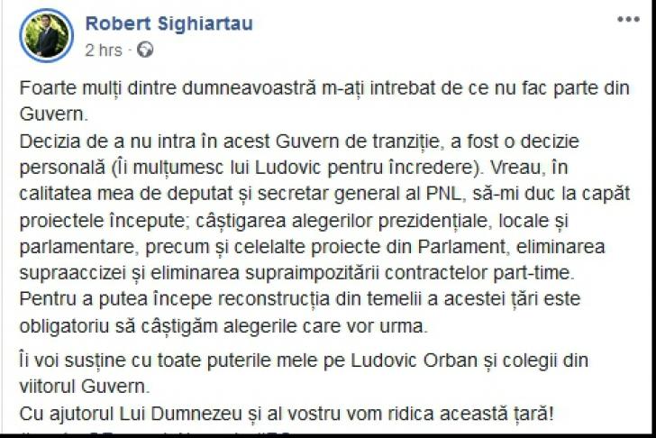 Robert Sighiartău lămurește, cu virgulă între subiect și predicat, de ce NU este în Guvernul Orban