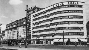 Imagine de arhiva cu cinematograful Scala din Bucuresti si cu Garajul Ciclop, situate pe Bulevardul Gheorghe Magheru