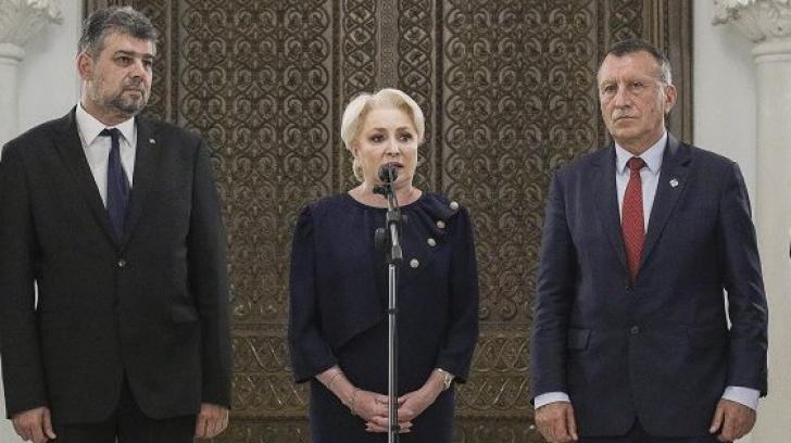Viorica Dăncilă, alături de Marcel Ciolacu și Paul Stănescu, Foto: Inquam Photos/Octav Ganea