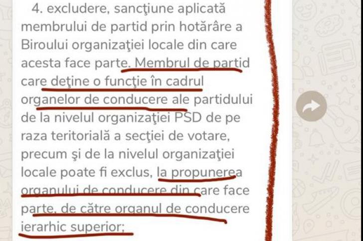 Statutul PSD nu permite excluderea fără solicitarea unei organizații inferioare