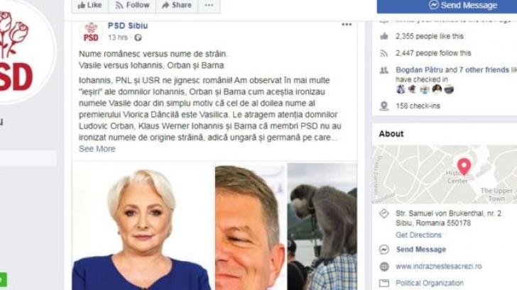 PSD, atac xenofob pe Facebook, cu erori gramaticale. Postarea a dispărut, dar o puteți vedea aici