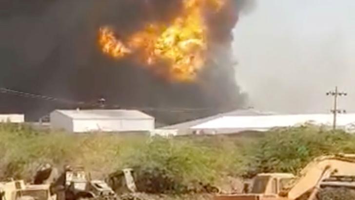 Incendiu puternic dupa explozie