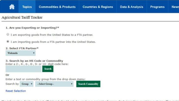 Wakanda, pe site-ul Departamentului SUA de Agricultură