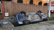 Mașină răsturnată, în jud. Sibiu: două victime, între care o fetiță de 8 ani
