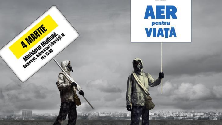 PROTEST la Ministerul Mediului faţă de poluarea din marile oraşe