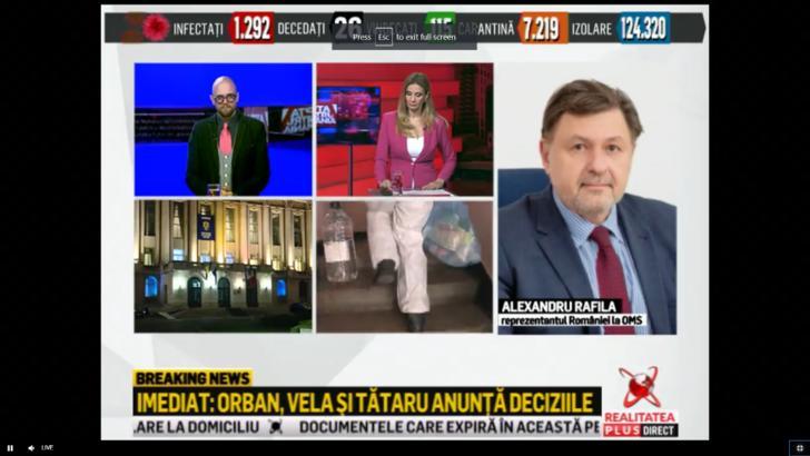 """Rafila, la Realitatea PLUS: -Romania se mentine la un nivel scazut in ceea ce priveste decesele cauzate de coronavirus"""""""
