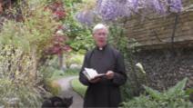 Motanul Leo, nelipsit de lângăreverendul Robert Willis, în grădina Catedralei Canterbury