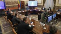 Prima ședință a Comitetului Național pentru Situații de Urgență la trecerea în starea de alertă, condusă de premierul Ludovic Orban Foto: Inquam Photos/Octav Ganea