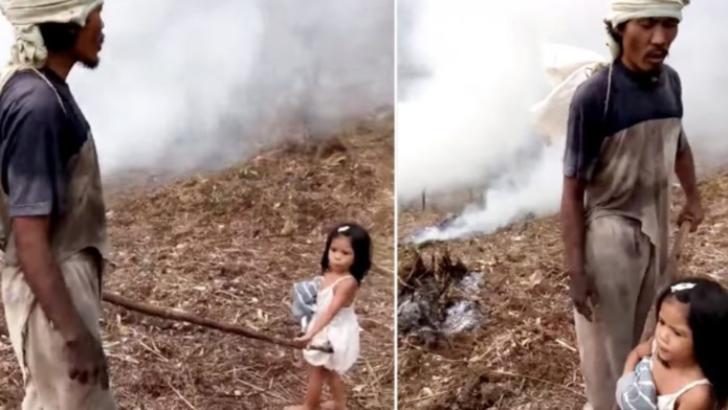 Povestea tulburătoare a fetiței de 5 ani care-și duce tatăl la muncă. Ce secret teribil ascunde poza