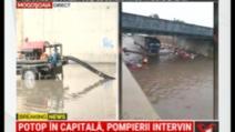Capitala, sub apă. Pasaj inundat, la Mogoșoaia, după ploaia torențială