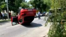 Accident grav, în Capitală: mașina în care era iubita lui Ciro Castellano s-a răsturnat