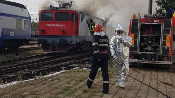 Momente de panică în gară la Mărășești! O locomotivă a luat foc. De unde au pornit flăcările