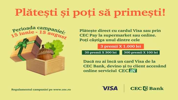 Tranzacțiile cu cardul tău CEC Bank Visa îți pot aduce premii în bani (P)