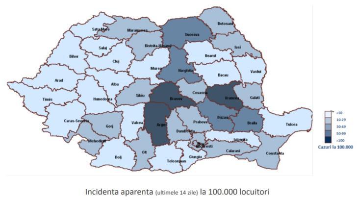 INSP Incidenta aparenta in ultimele 14 zile la 100.000 de locuitori
