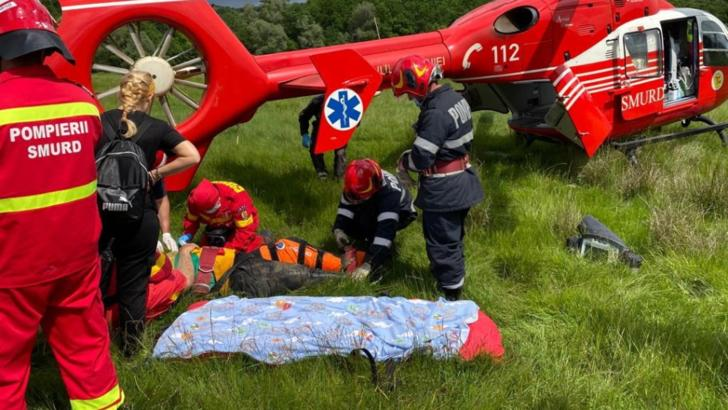 Bărbat accidentat după ce a căzut cu ATV-ul, transportat cu elicopterul SMURD